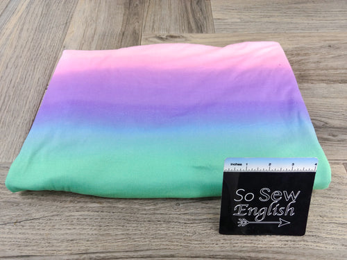 Pastel RAINBOW OMBRE - Double Brushed Poly Spandex -By The Yard