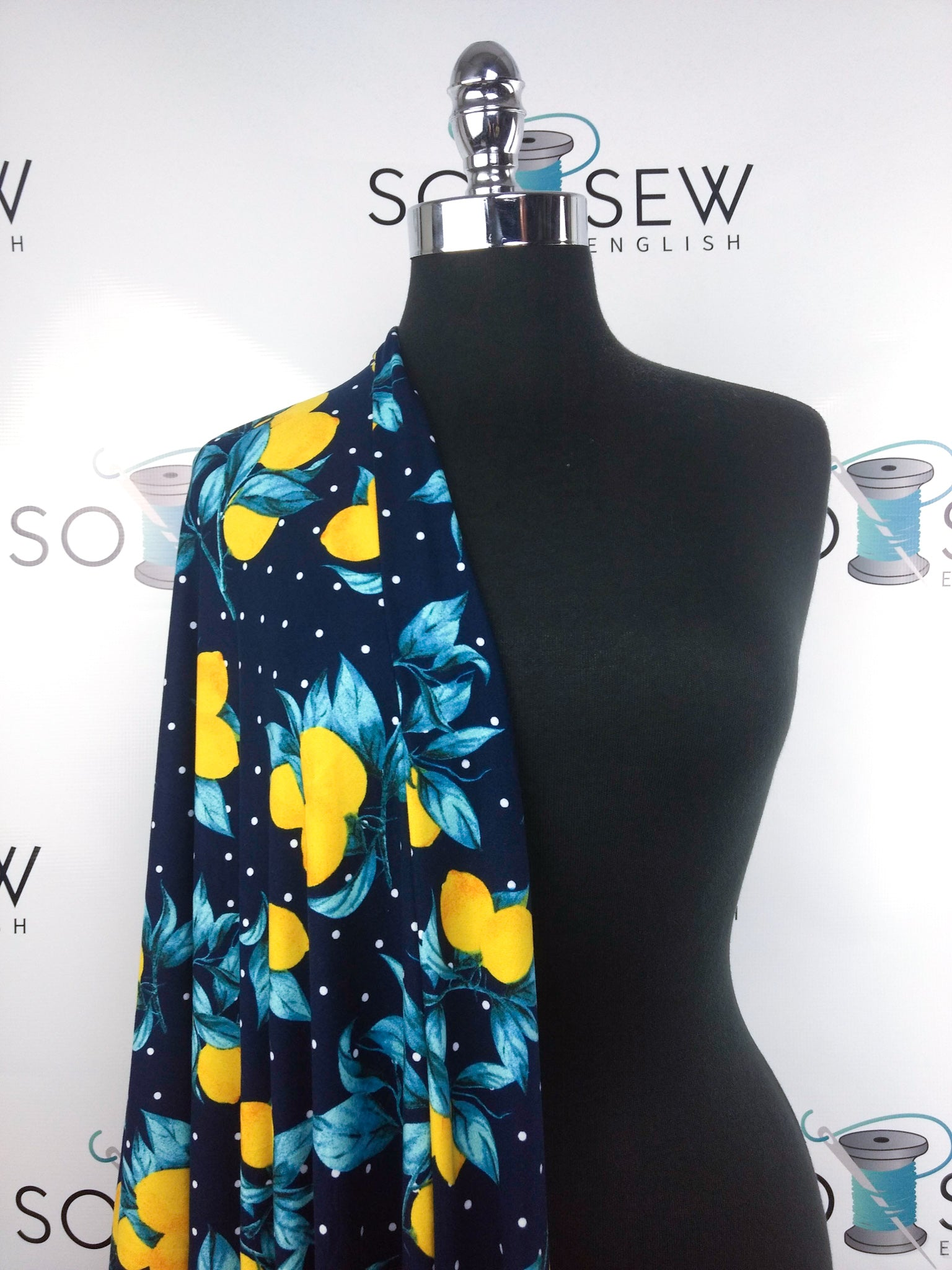NAVY Lemon Dots- Double Brushed Poly Spandex -By The Yard