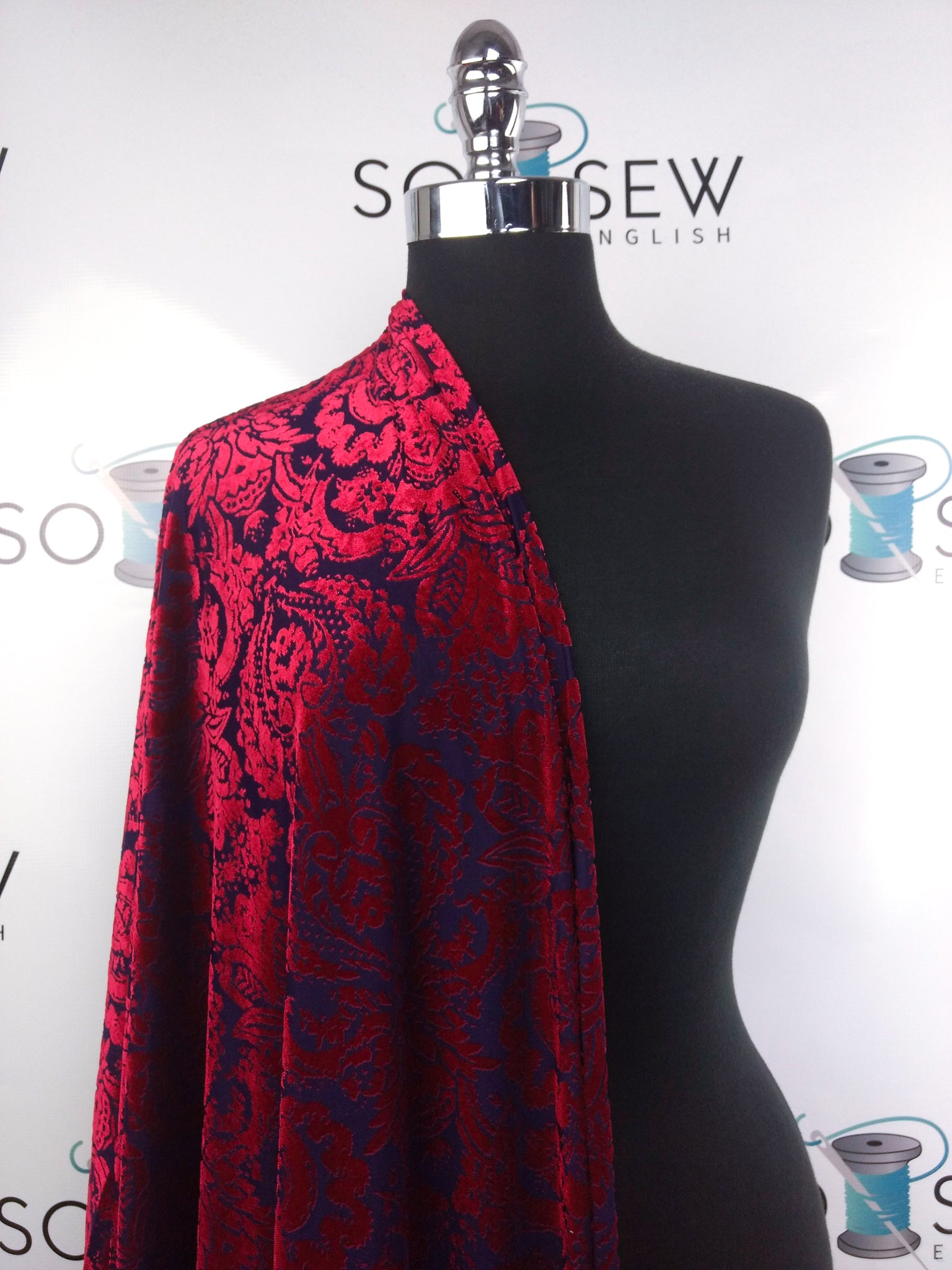 Red/Midnight Blue DAMASK- Burnout VELVET - By the yard