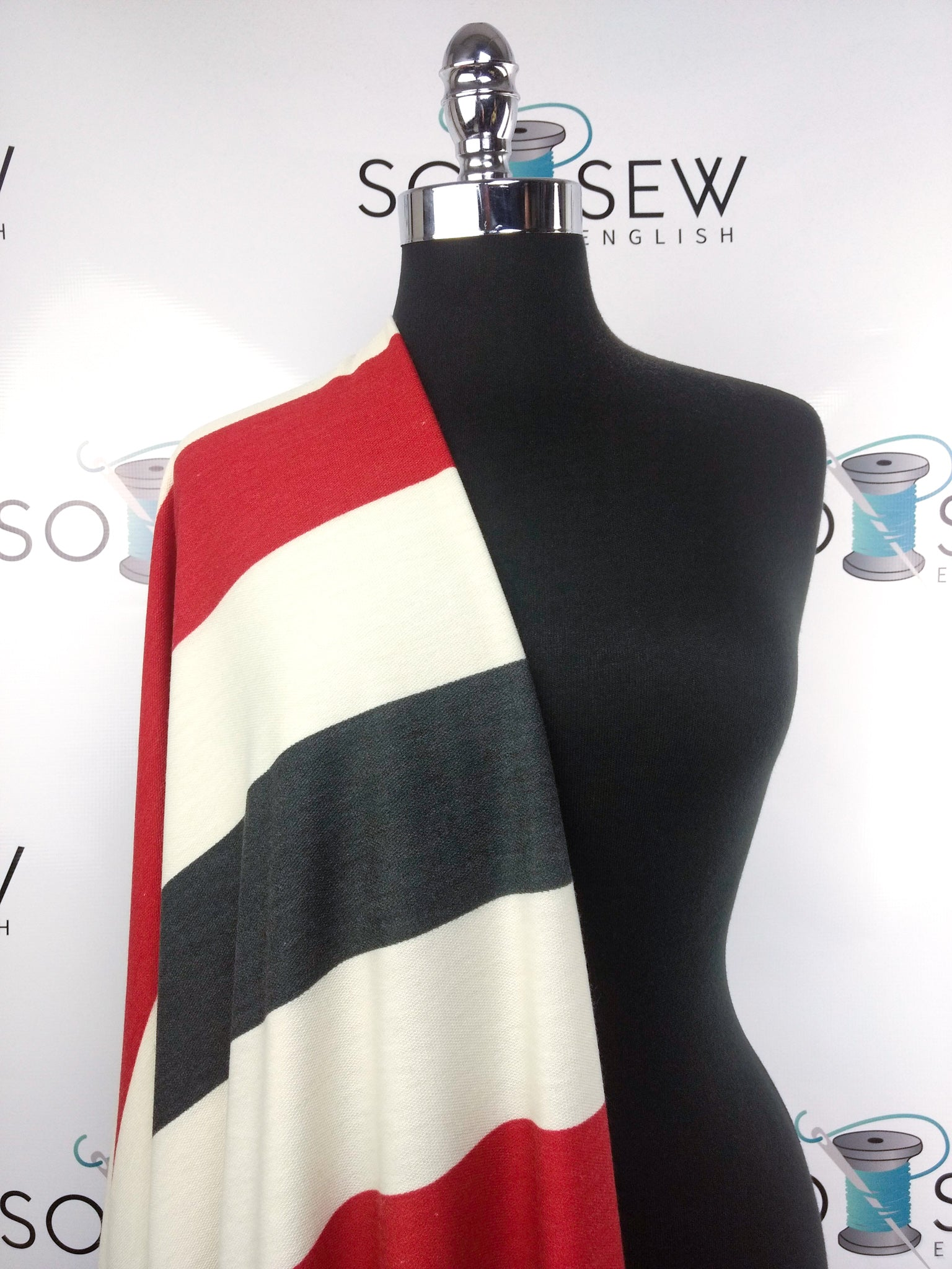 Red/Ivory/Navy PATRIOTIC Stripe (right side loops)-French Terry- By the yard