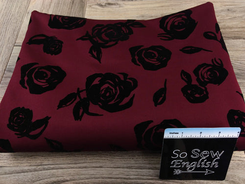 Burgundy Drawn Rose -Flocked Scuba Knit -By The Yard