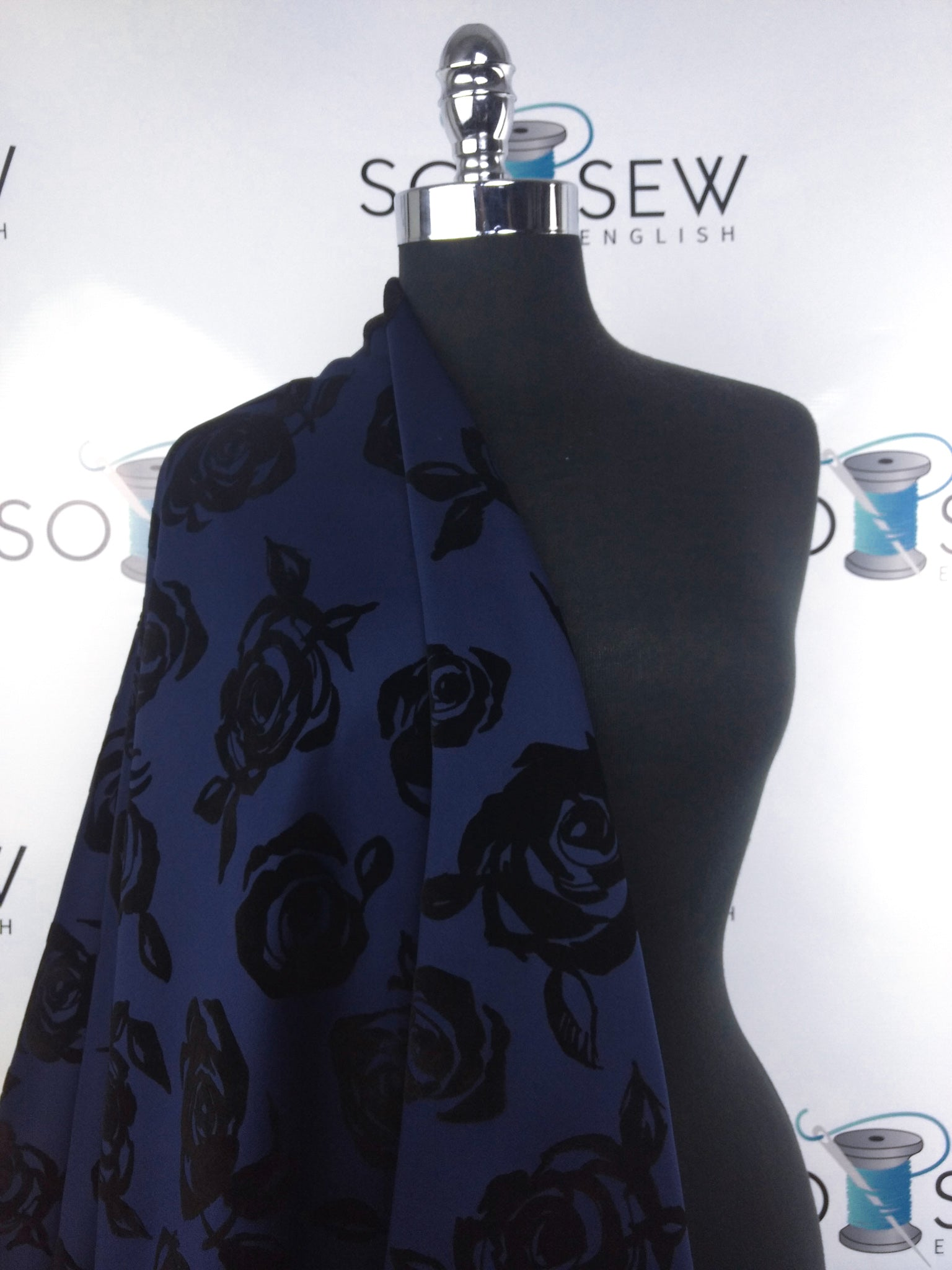 Navy Drawn Rose -Flocked Scuba Knit -By The Yard