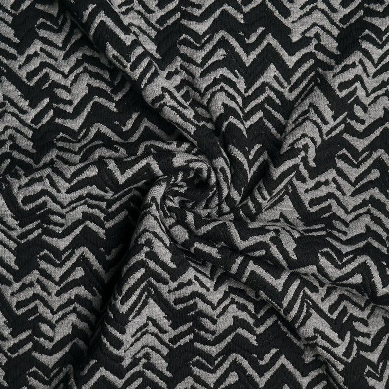 Black/Grey Chevron -Quilted Double Knit- By the yard
