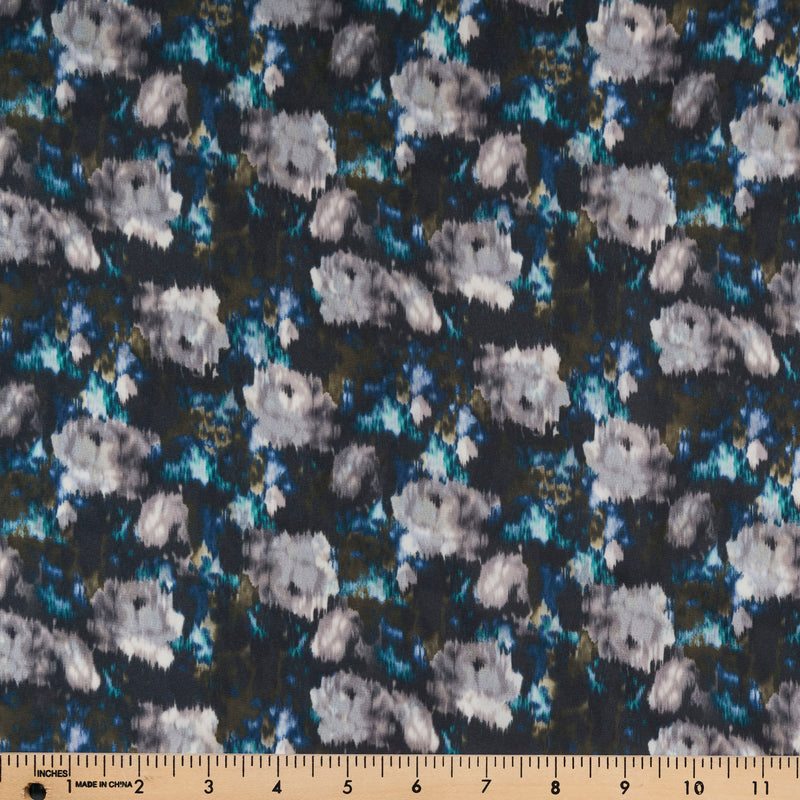 Charcoal Smeared Floral -Wool Dobby WOVEN - By the yard