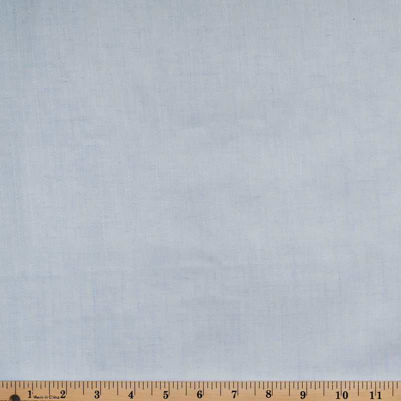 Light Blue Vertical Stripe -Textured Poly Cotton Woven- By the yard