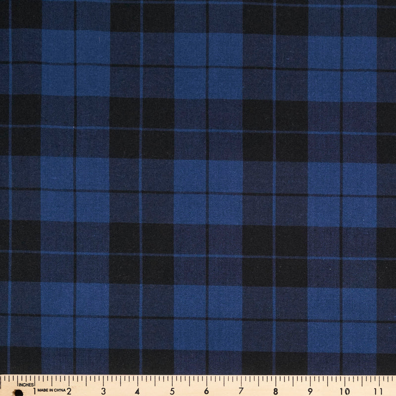 Navy Plaid - Poly Cotton Woven - By The Yard