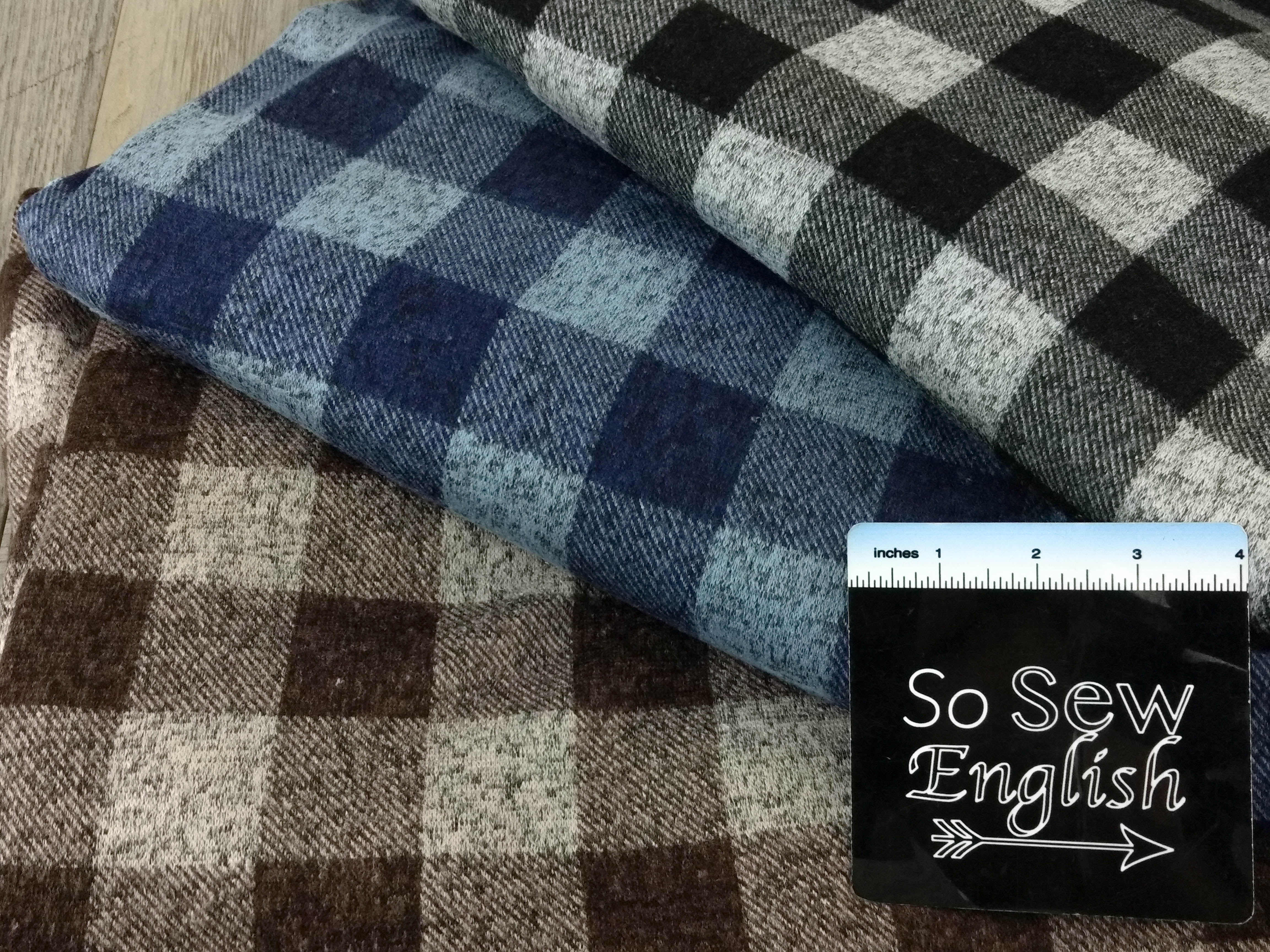 Black/Grey PLAID - Firenze Brushed Hacci - By The Yard