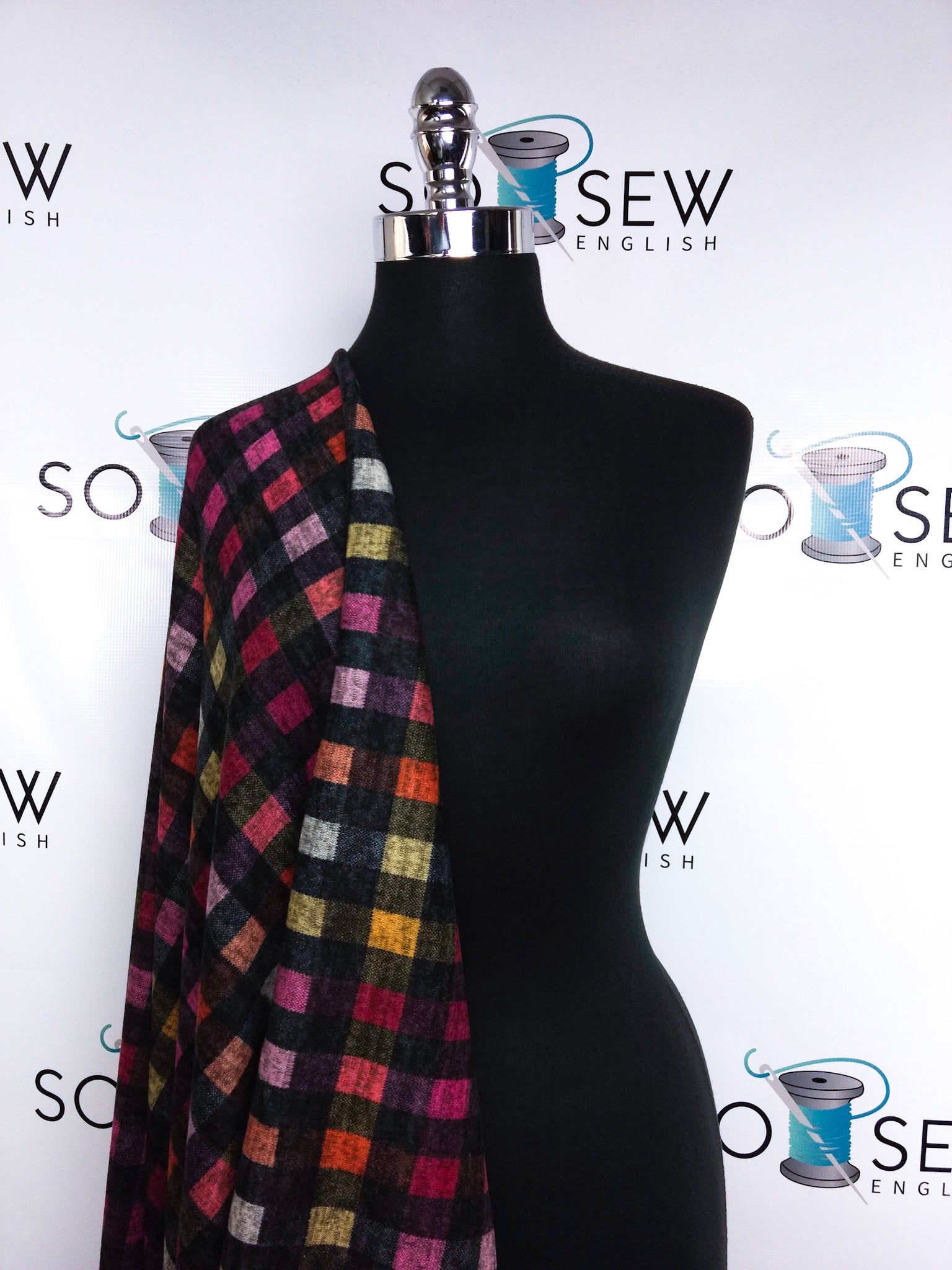 Black/Red/Pink CALAN Plaid - Hacci - By The Yard