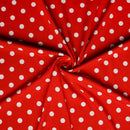 Red/Ivory LARGE POLKA DOT - Crepe Scuba -By The Yard