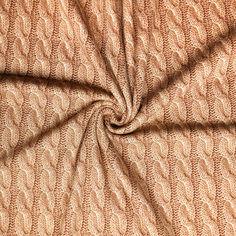 "Sand ""CABLE KNIT"" Print - SUPER PLUSH - By the yard"