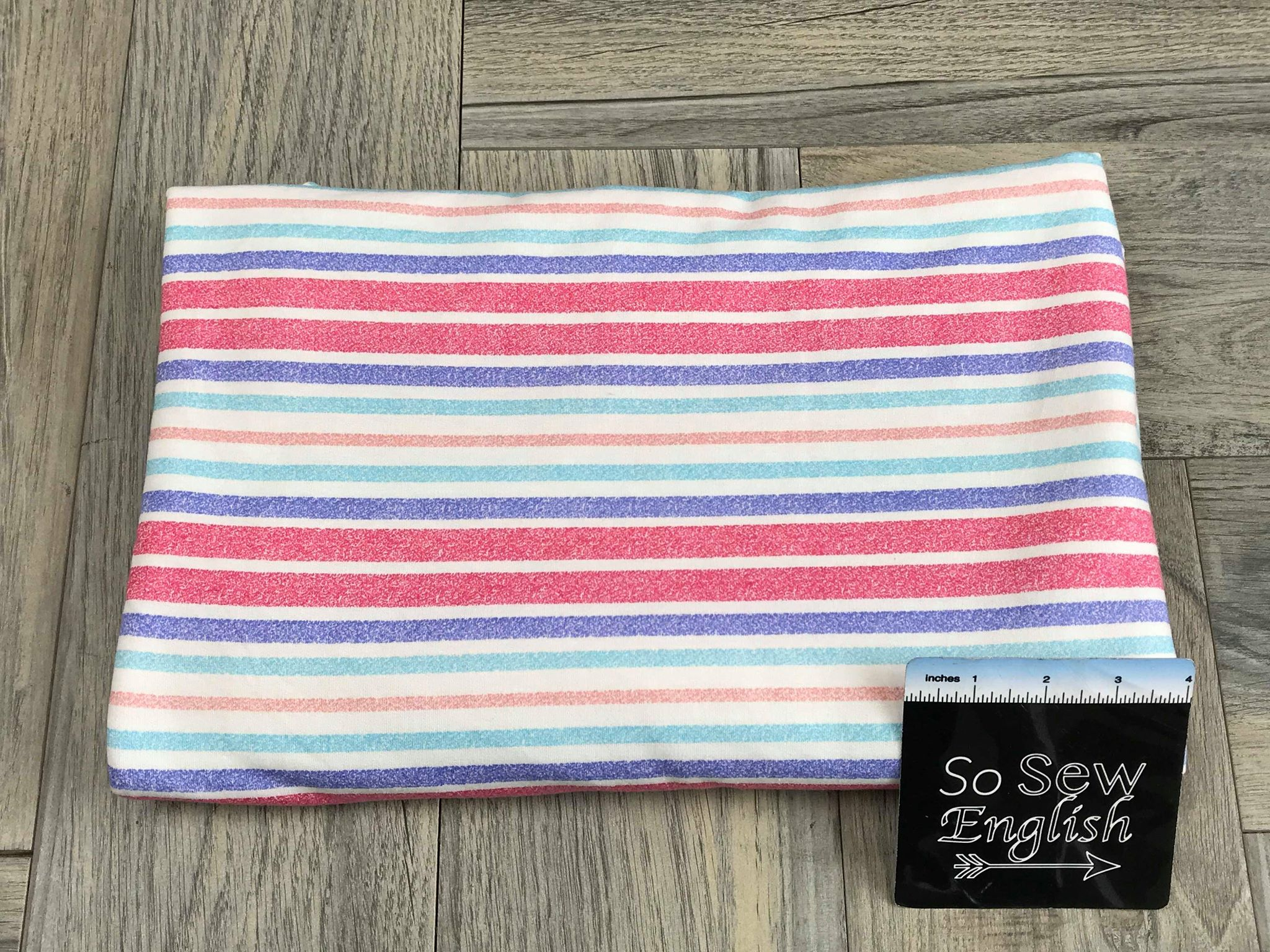 Fuchsia/Periwinkle STRIPE -French Terry- By the yard