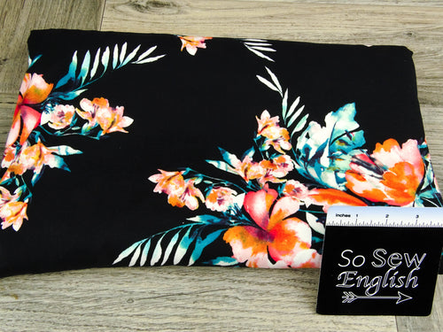 Black VACATION TROPIC - Single Brushed Poly Spandex -By The Yard