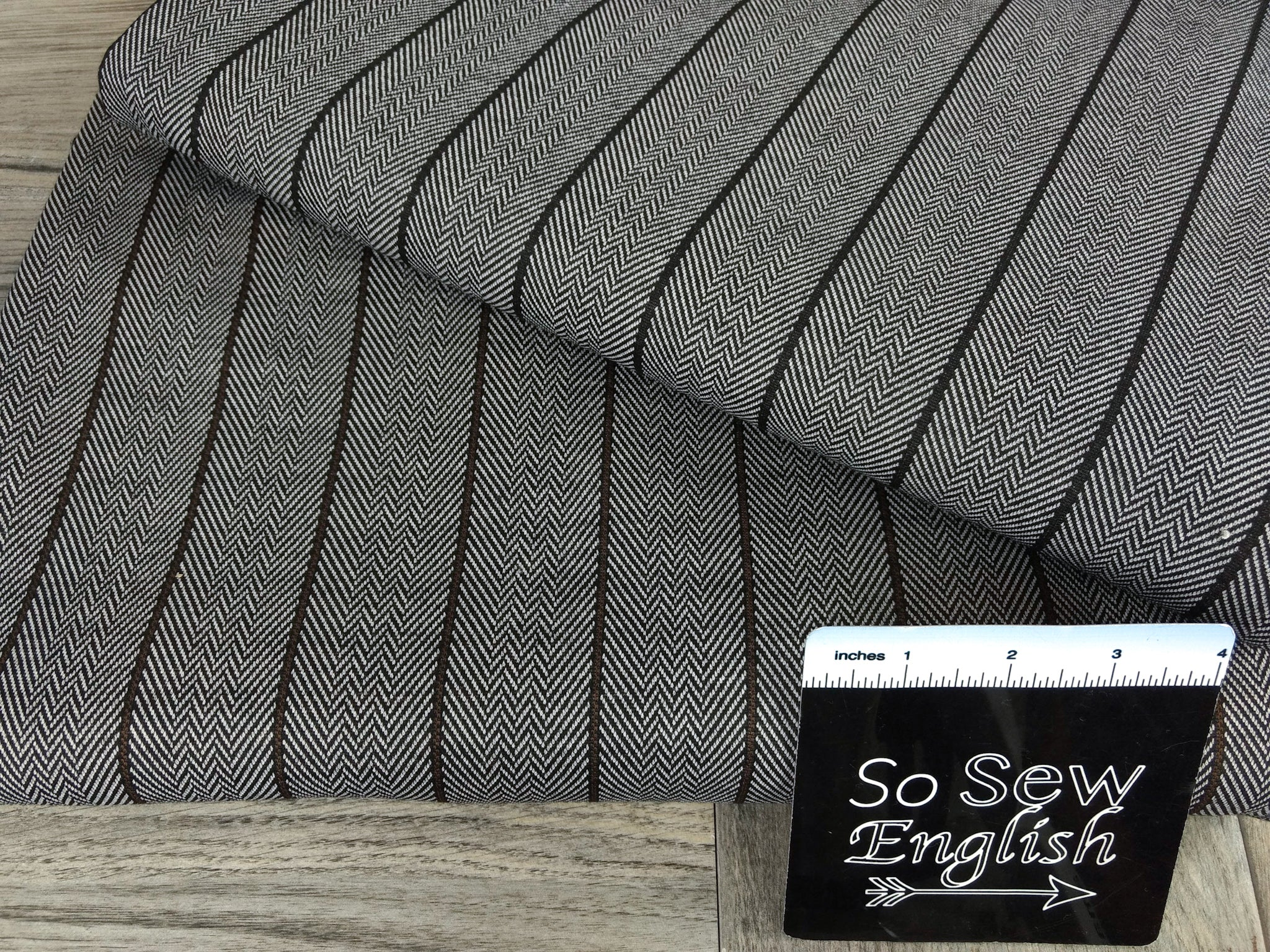 Black Thin Vertical Stripe Herringbone- Jacquard DOUBLE Knit - By the yard