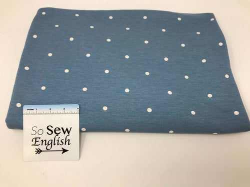 Chambray POLKA DOTS - Poly Rayon Spandex French Terry- By the yard