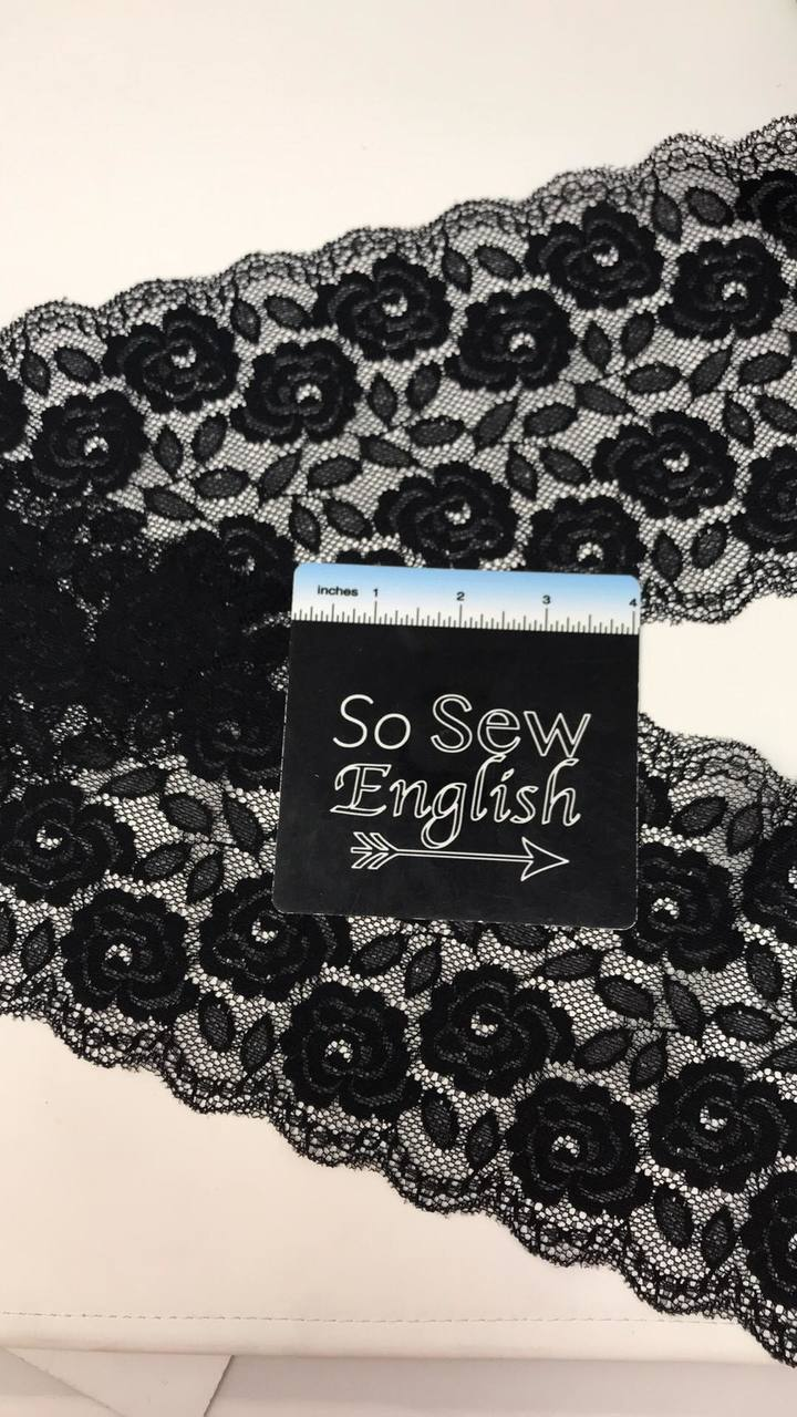 "Black Floral 6"" Stretch Double Galloon LACE - Sold by the yard"