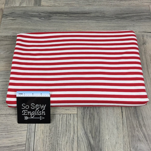 Red/White Stripe - PONTE Knit - By The Yard
