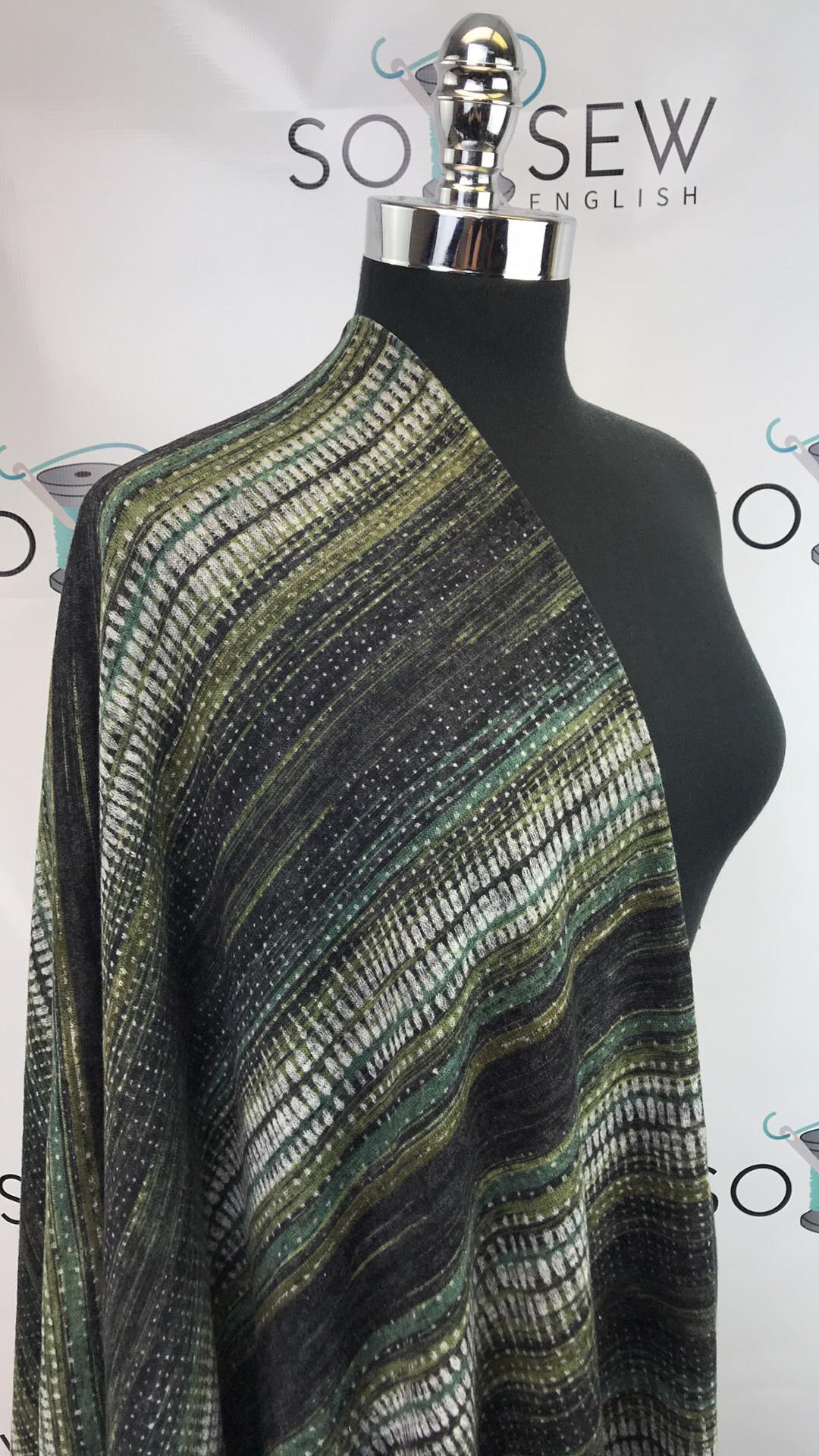 Olive Abstract Stripe -Brushed Hacci - By The Yard