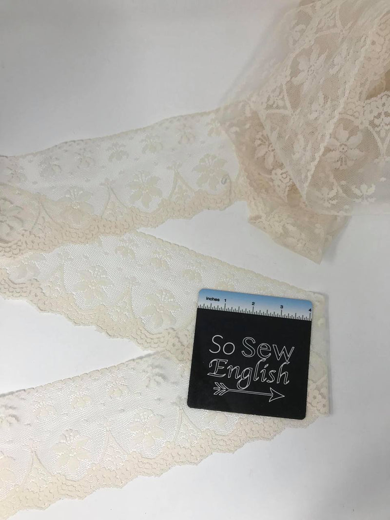 "Off-White 3.5"" non-stretch LACE - Sold by the 3YD piece"