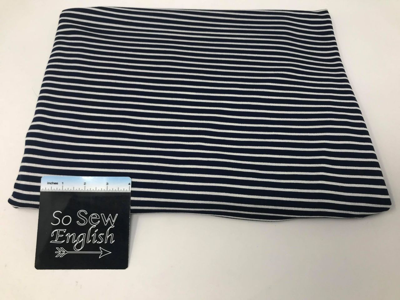 Navy/Ivory EASTON STRIPE - Baby French Terry - By the yard