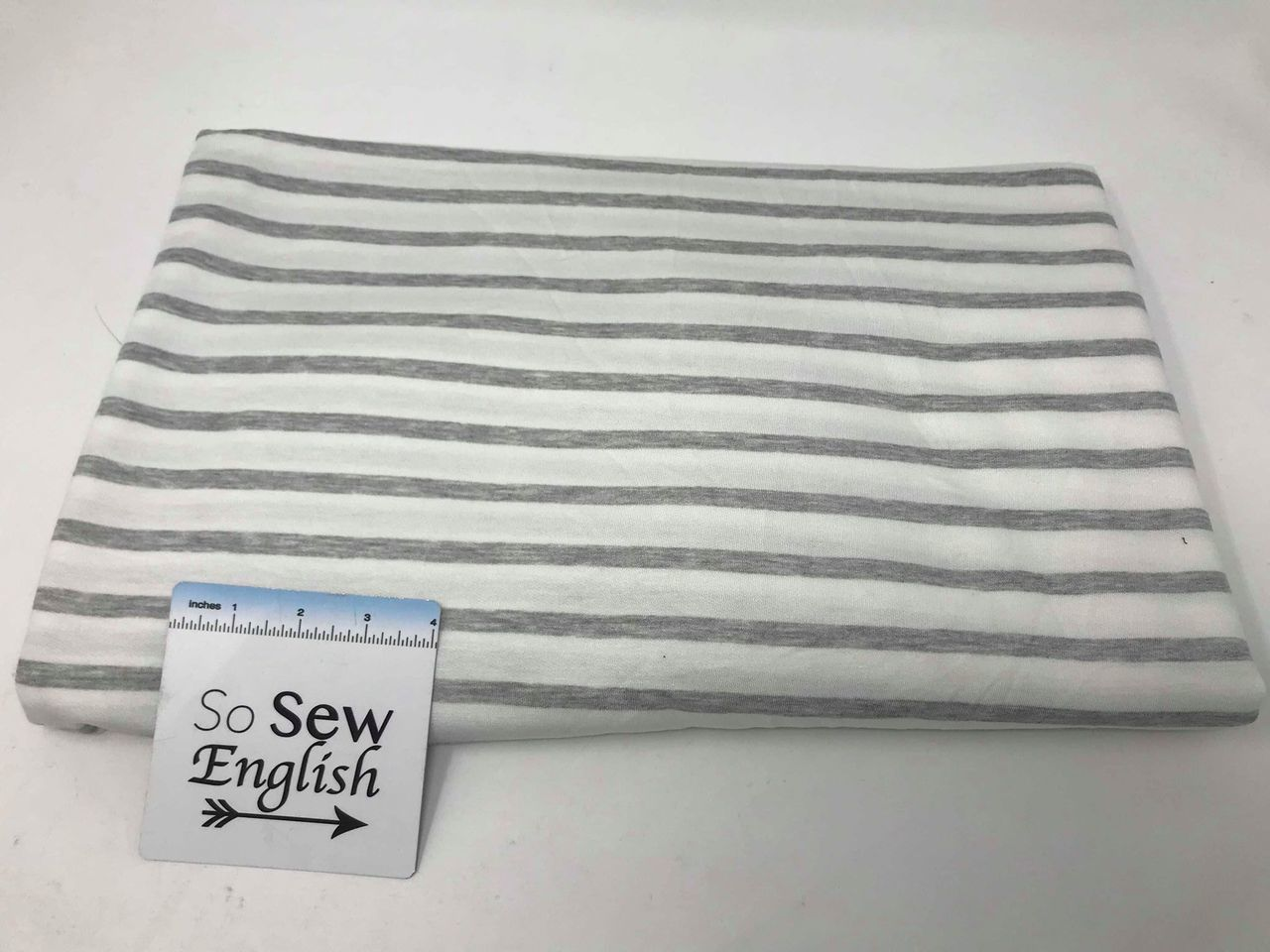 Ivory/Heather Grey CLAYTON STRIPE - Baby French Terry - By the yard