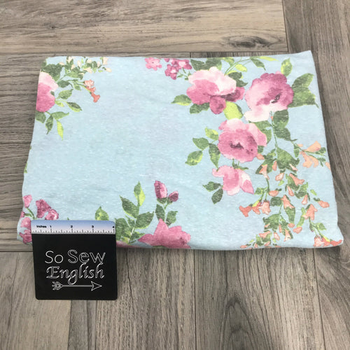 Sky blue/Pink Watercolor-TRIBLEND - By the yard