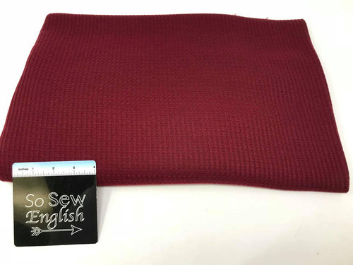 Solid BURGUNDY - THERMAL Knit - Rayon Spandex- By the yard