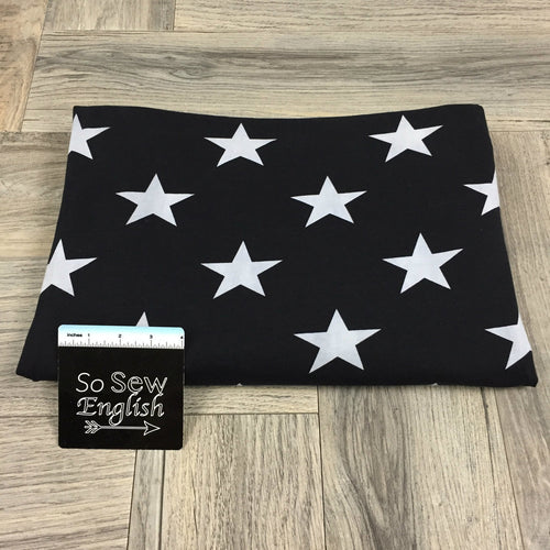 Black STARS- Cotton Spandex - By The Yard