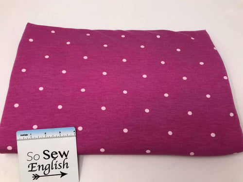 Magenta POLKA DOTS - Poly Rayon Spandex French Terry- By the yard