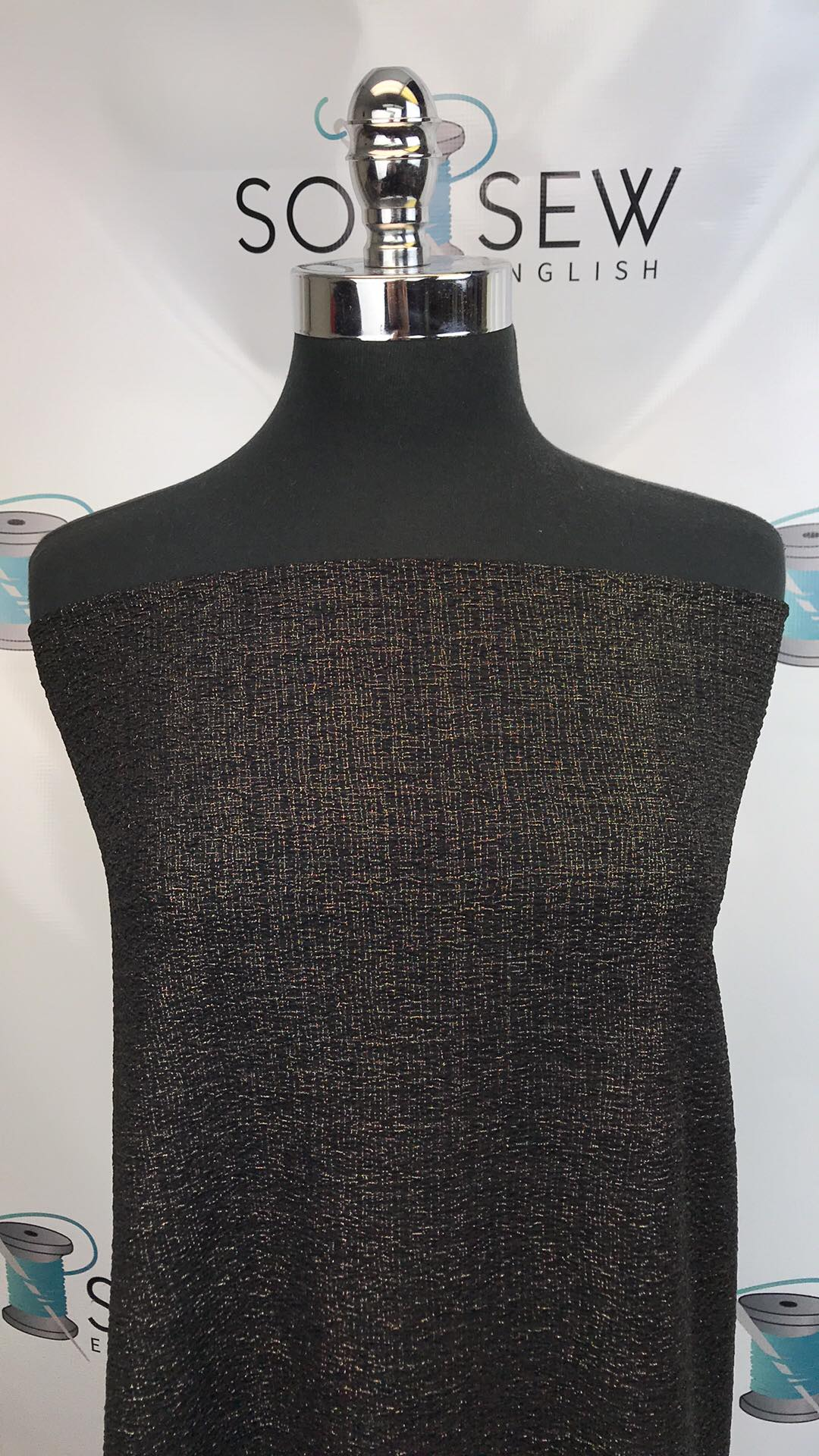 Black/Gold SPARKLE- DOUBLE Knit - By the yard
