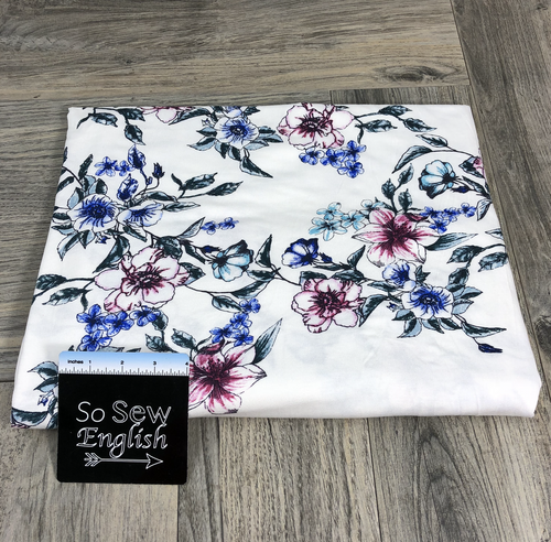 Ivory VINE Floral - Rayon Spandex -By the yard
