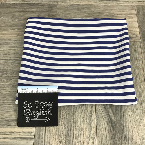 Blue/Ivory Stripe- SILK SATIN WOVEN -- By the yard
