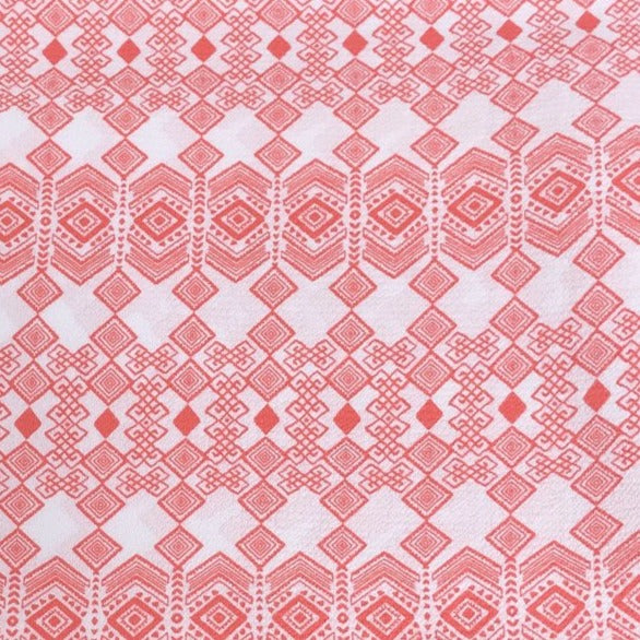 Ivory/Coral Diamond Boho - Crepe WOVEN -- By the yard