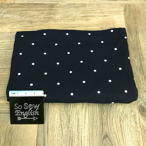 Deep Navy/Ivory Polka Dot - Double Brushed Poly Spandex -By The Yard
