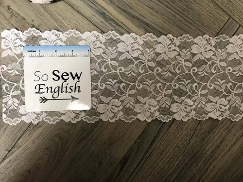 "6"" WHITE stretch double galloon Lace - By The Yard"