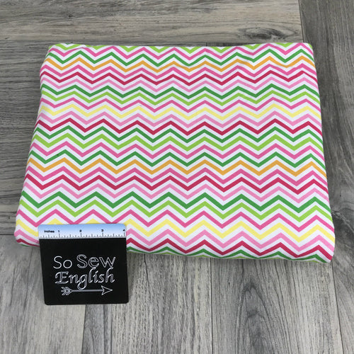Rainbow Chevrons - Cotton Spandex - By The Yard