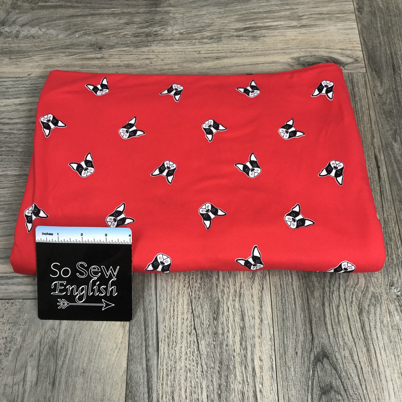 Red PUPPY DOG - Double Brushed Poly Spandex -By The Yard