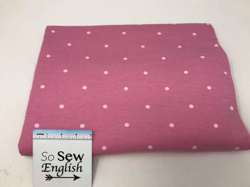 Mauve POLKA DOTS - Poly Rayon Spandex French Terry- By the yard