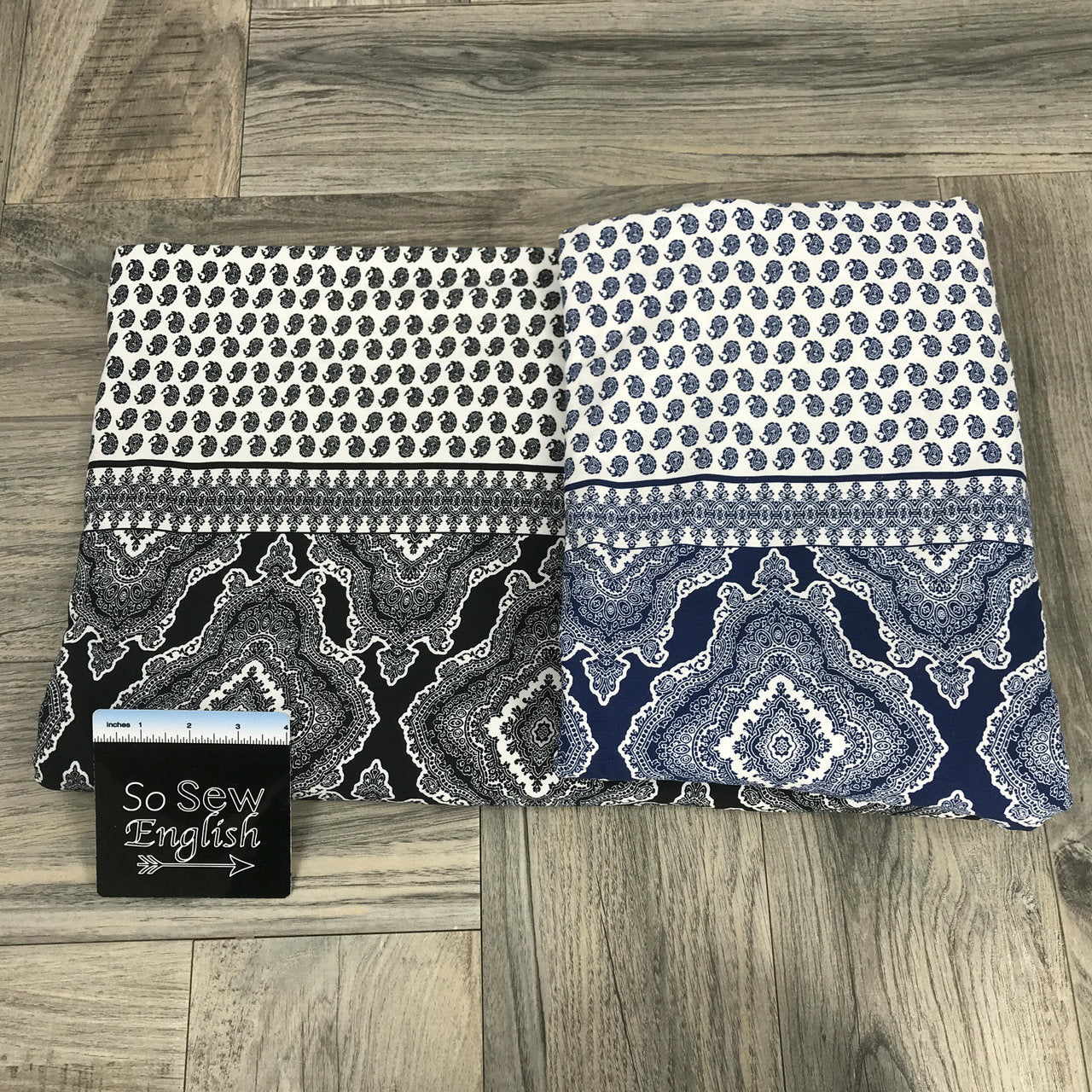 Navy IMOGEN Boho Single Border Print- Double Brushed Poly Spandex -By The Yard