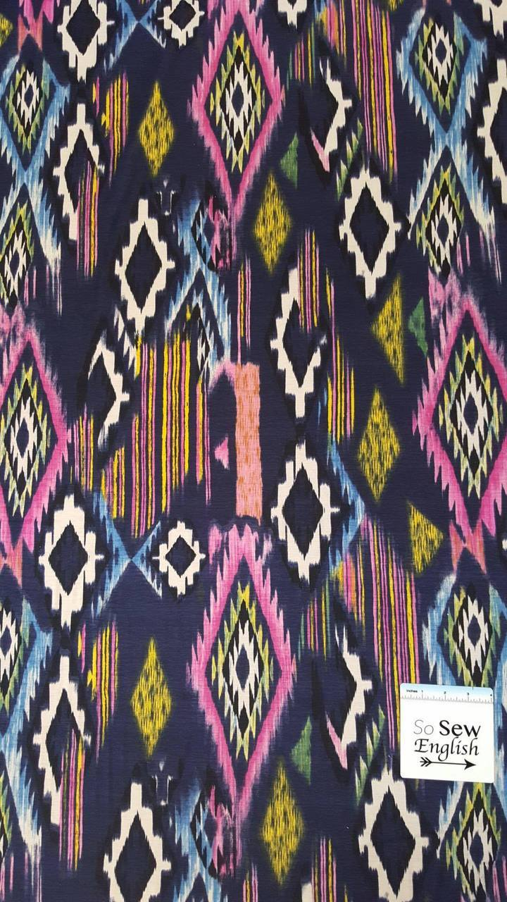 NAVY IKAT- ITY Poly Spandex - By The Yard