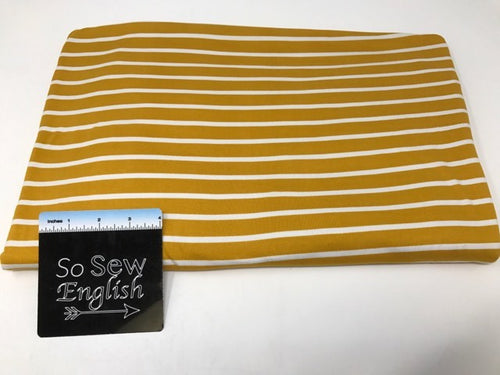 Mustard TYLER stripes-  Double Brushed Poly Spandex - By The Yard