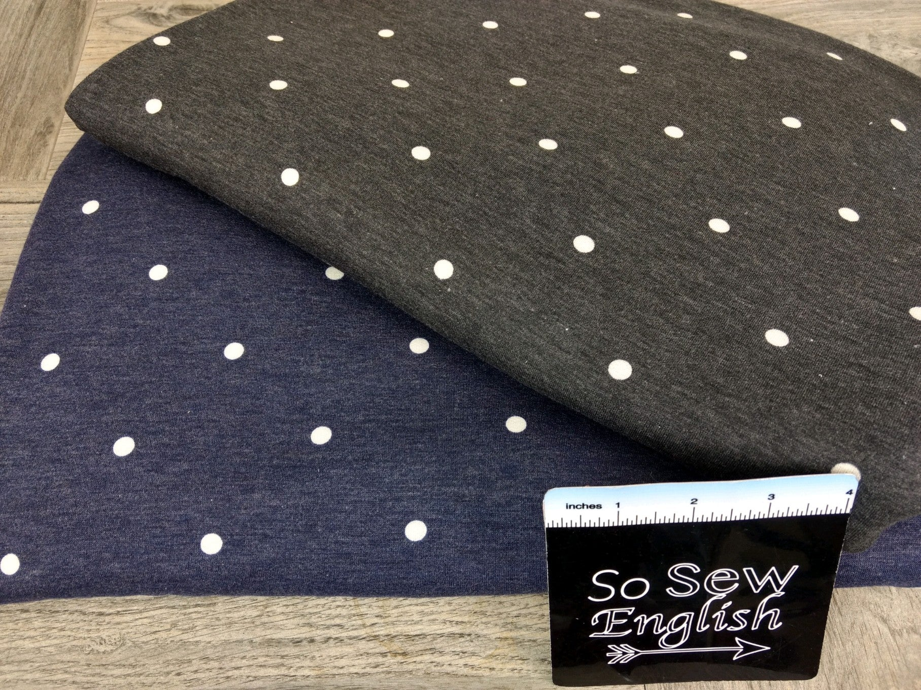 Navy POLKA DOT -French Terry- By the yard (NS)