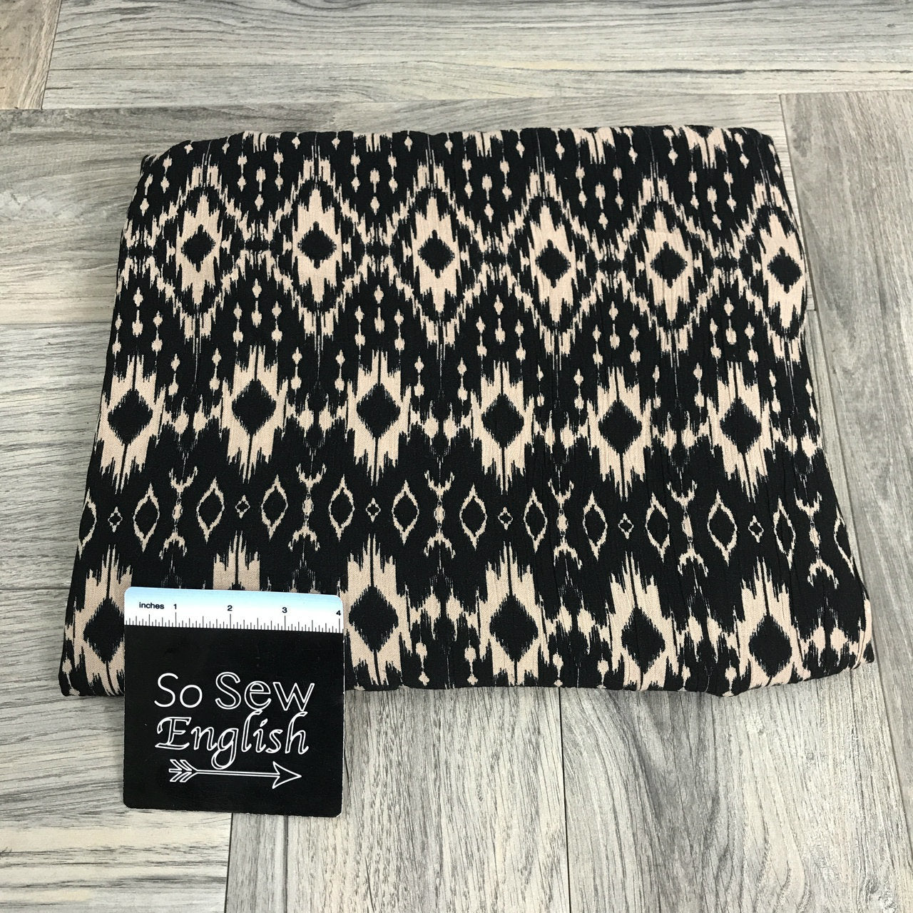 Black/Sand Ikat - Crinkle Rayon WOVEN -- By the yard