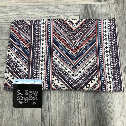 Taupe/Navy BOHO CHEVRON- Crepe WOVEN -- By the yard