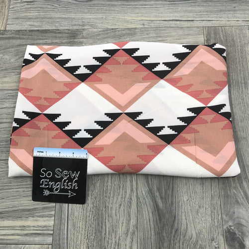 Ivory/Blush AZTEC- Crepe WOVEN -- By the yard