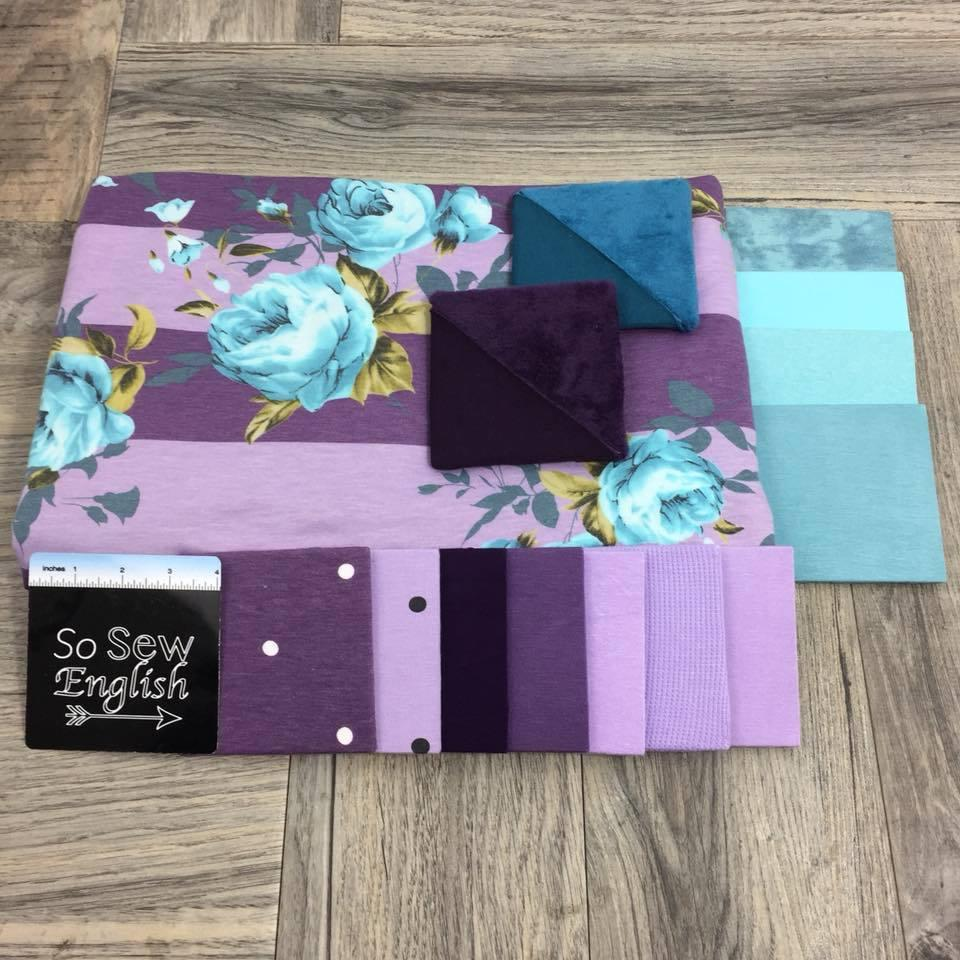 Purple/Aqua Blush Lilly Stripe - Poly Rayon French Terry - By the yard