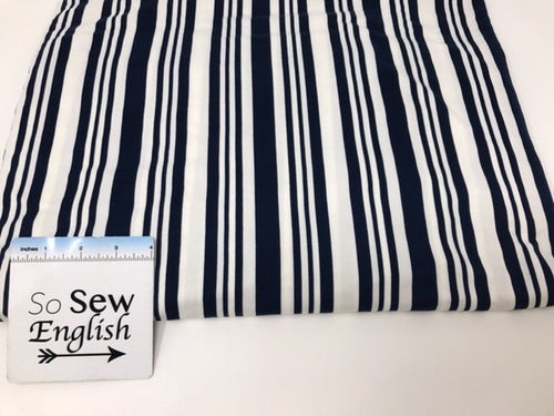 Navy/white VERTICAL STRIPE - Double Brushed Poly Spandex - By The Yard