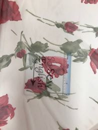 Ivory/Red ROSE- Stretch Mesh - By the yard