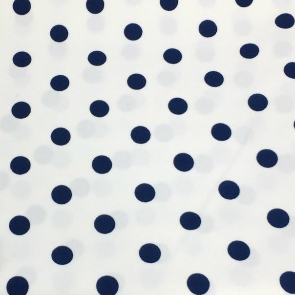 Ivory/Navy LARGE POLKA DOT - Crepe Scuba -By The Yard