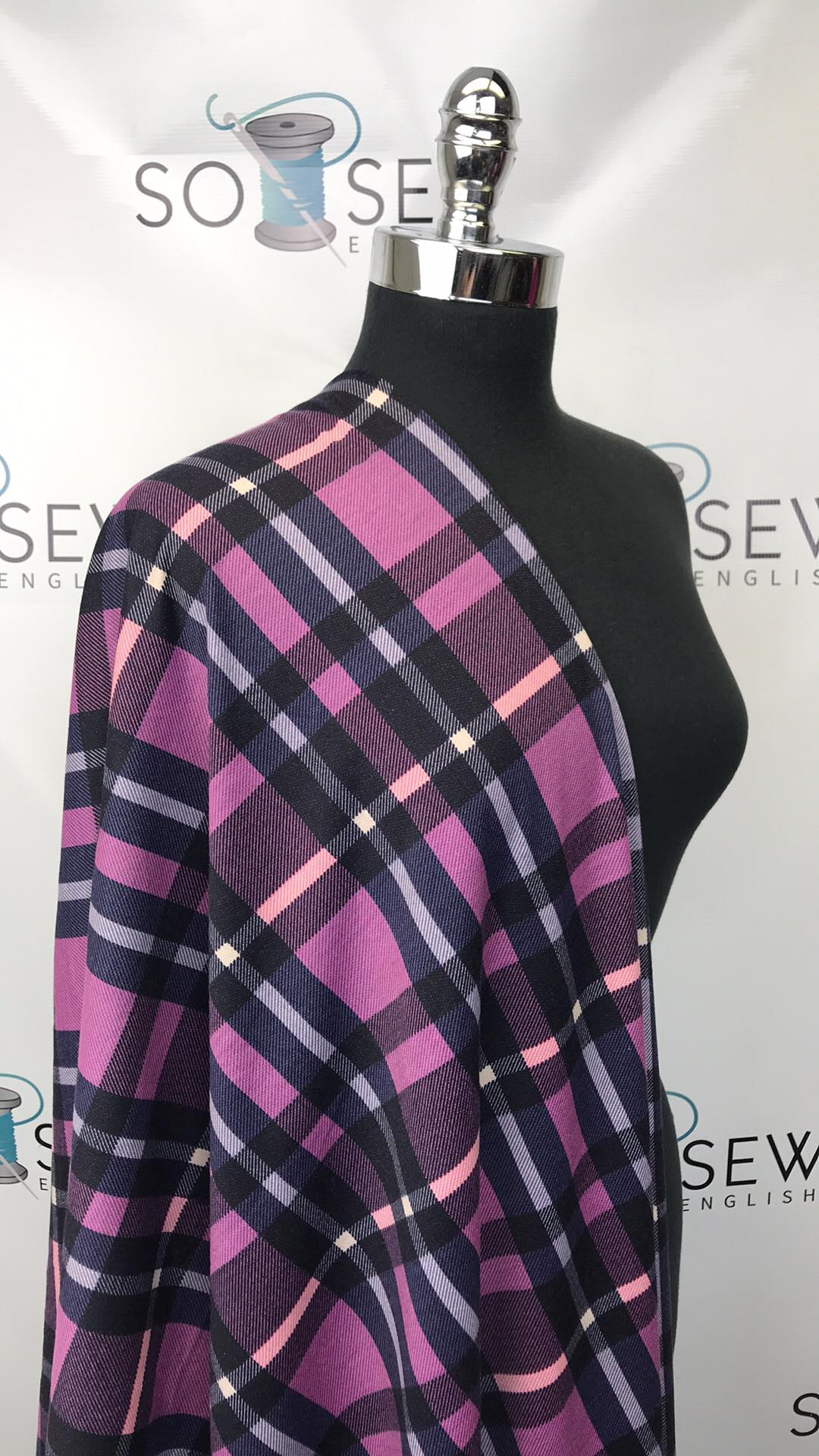 Pink/Navy ERIN PLAID -French Terry- By the yard