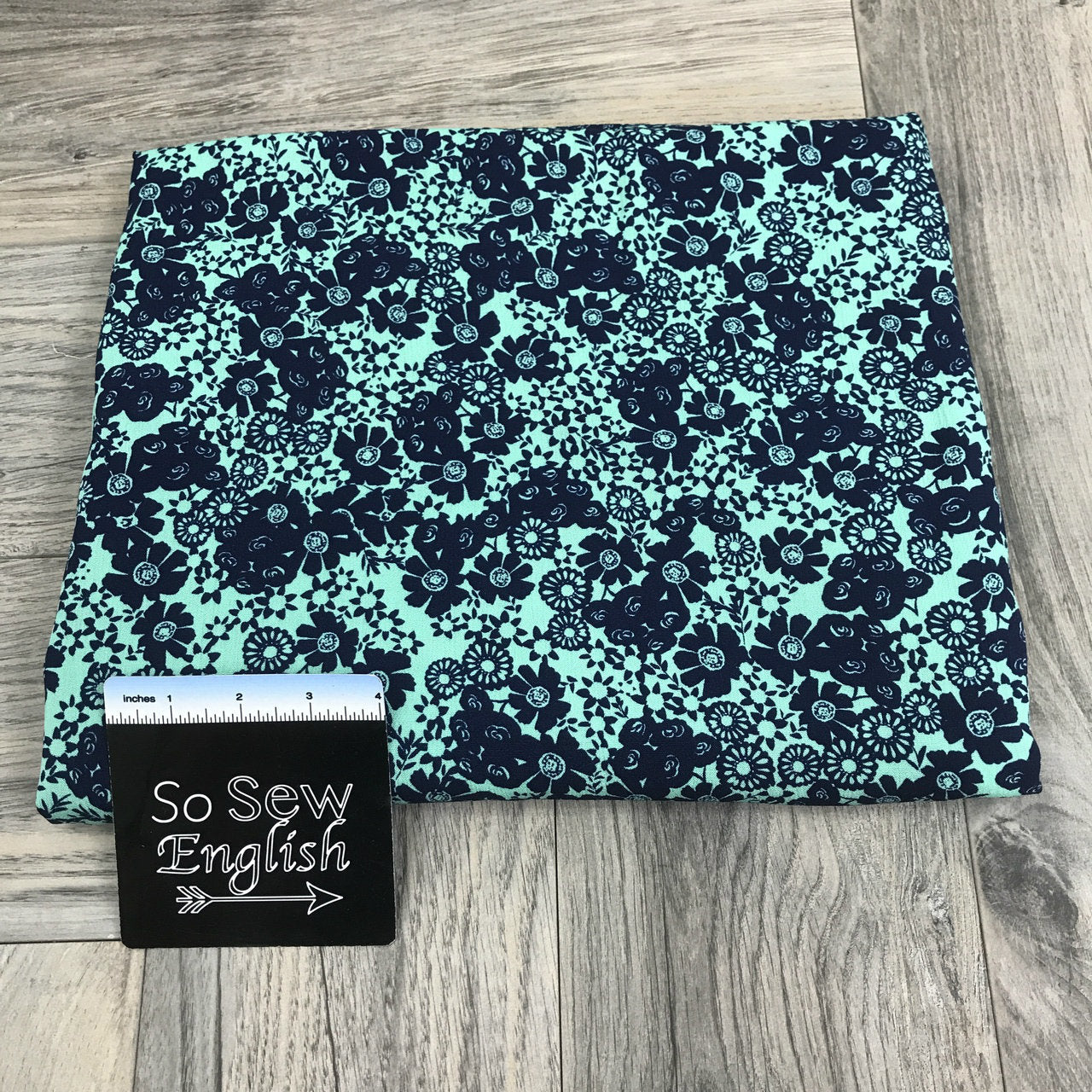 Navy/Mint Bitsy Floral - Crinkle Rayon WOVEN -- By the yard